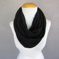 Large Black Infinity Scarf - Oversized Black Scarf - Black Knit Circle Scarf