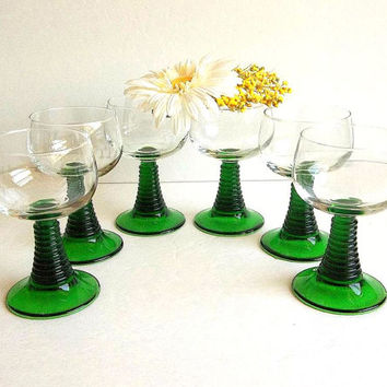 Vintage French SIX Rhine wine glasses w green stems, France, Mid Century Wine Goblets, Cordials, Ringed Rib stemware barware