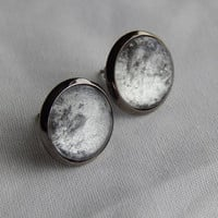 Silver and Black Cabochon Earrings with Metallic Black Settings