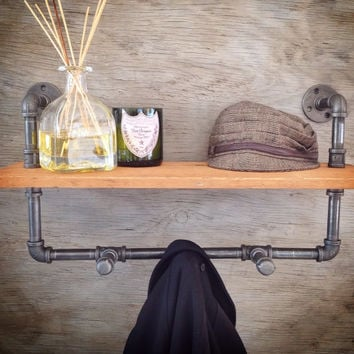 Industrial Shelving: Industrial Coat Rack With Reclaimed Wood Shelf - Black Pipe, Bathroom Accessories, Entry Way Decor, Barn Wood