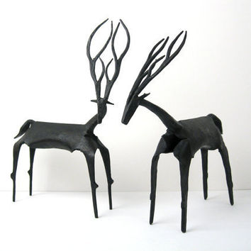 Pair of 12 MidCentury Modernist Iron Sculptures  by ObjectOfBeauty
