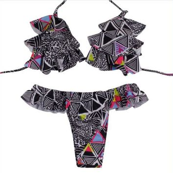 Halter  Bikini Sets Padded Bra Print Low Waist Polyester Beach Wear Swimwear