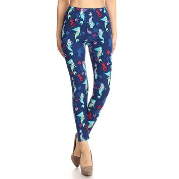 Women's PLUS Mermaids & Fish Pattern Printed Leggings -Blue Red