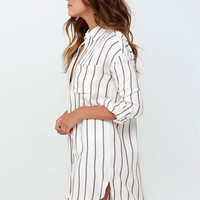 White Striped Long Back Shift Dress
