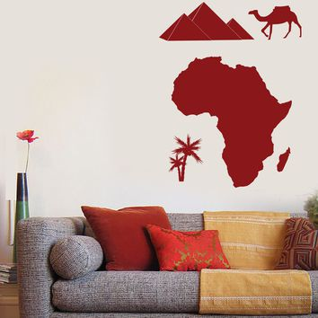 Large Vinyl Decal Wall Sticker African Continent Symbol Camel Palm Pyramids (n820)