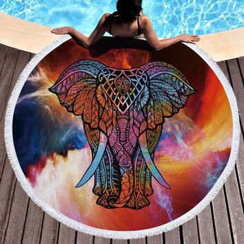 Elephant Tapestry Indian Mandala Style Macrame Wall Hanging Round Beach Towel Large Microfiber Beach Bedspreads Shower Shawl Mat