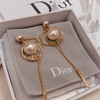 """Dior"" Women Elegant Temperament Fashion Pearl Eardrop Long Section Earrings"