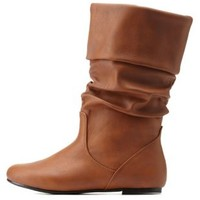Cognac Slouchy Flat Fold-Over Mid-Calf Boots by Charlotte Russe