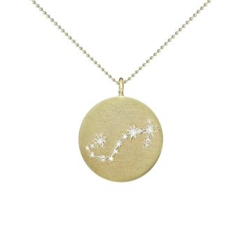 Gold Zodiac Pendant with Diamonds - Scorpio