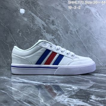 DCCK2 A731 Adidas NEO campus opens mouth to laugh canvas board shoes White Blue Red