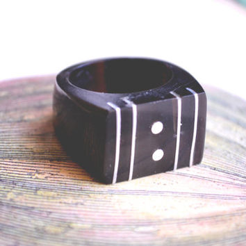 silver inlay wooden statement ring // vintage modern american