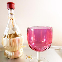 Bartlett-Collins Cranberry Glass Goblet, Red Thumbprint Goblet, Ruby Flashed Wine Glass, Ruby Red Water Goblet