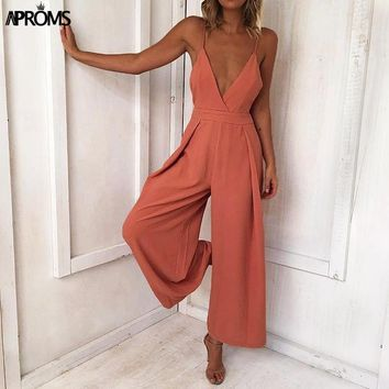 Aproms Solid Cut Out Jumpsuit Women Sexy V neck Low Back Rompers Cool Girls Streetwear Jumpsuits Overalls for Women's Clothing