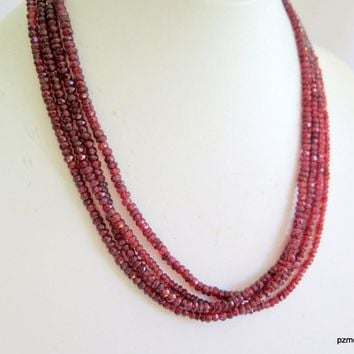 Red Garnet Multi Strand Necklace, Pyrope Garnet 4 Strand Necklace, Gift for Her