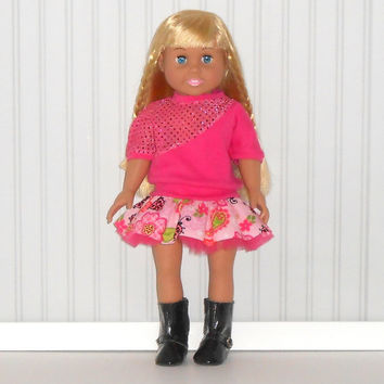 18 inch Girl Doll Clothes Pink Ruffled Skirt with Ladybugs and Hot Pink Sequin Shirt American Doll Clothes