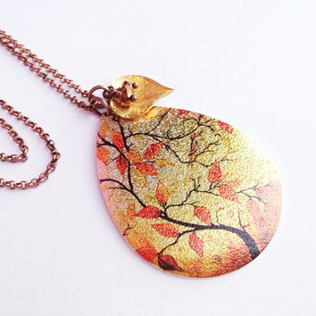 Tree with Fall Leaves Necklace
