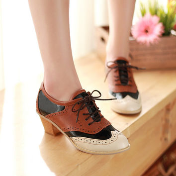 Women Pumps Lace Up Mixed Color High Heels Oxfords Shoes Woman