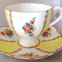 Fine English Bone China Yellow Vintage Teacup & Saucer Set - Pink Posies - Wild Flowers and Roses - flower floral - scalloped - 22kt gold