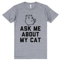 Ask Me About My Cat-Unisex Athletic Grey T-Shirt