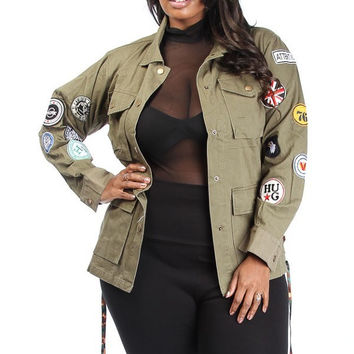 Patch Up Military Jacket - Curvaceous