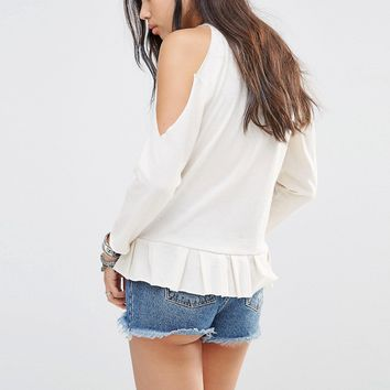 Milk It Vintage Long Sleeve Cold Shoulder T-Shirt With Raw Peplum Hem