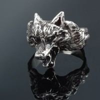 Wolf Ring in Sterling Silver by PaganTreasures on Etsy