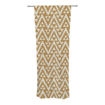"Amanda Lane ""Geo Tribal Mustard"" Yellow Aztec Decorative Sheer Curtain"