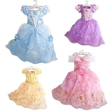 2018 Girls Summer Dress Kids Cindrella Snow White Cosplay Costume Baby Girl Princess Dress Rapunzel Aurora Belle Dress Vestidos