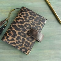 leather binder - leopard print - hand stitched leather planner, organizer, notebook cover, filofax pocket, agenda, refillable journal