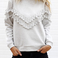 Fashion tassels round neck T-shirt