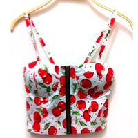 Floral Vintage Padded Bustier Cropped Tops