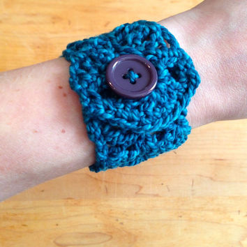 Crochet Jewelry Cuff Bracelet with Button - Berry, Teal, Blue - Holiday Gift, Stocking Stuffer, Gifts Under 10