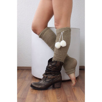 Leg Warmers with pom pom, legging. Yoga. Boot cuffs, legwarmers, sock