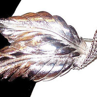 "Monet Double Leaf Brooch Pin Textured Silver Metal 2 3/8"" Vintage Fall Jewelry"