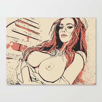 Kinky outdoors, sexy redhead girl topless, naughty adult artwork, big breast nerdy babe, naked woman Canvas Print by Casemiro Arts - Peter Reiss