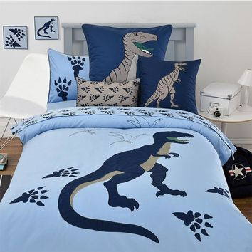 100%cotton children cartoon embroidered blue dinosaur 3/4pcs bedding set twin full queen size without filling free shipping