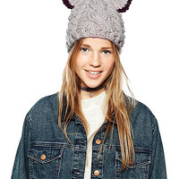 Gray Knitted Beanie with Ears
