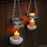 Mason Jar Lanterns Hanging Tea Light Luminaries - Set of 2