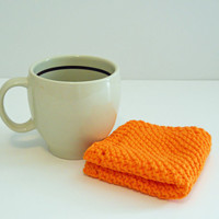 Hand Knit Cotton Wash Cloth, Knit Cotton Dishcloth,  Hot Orange Washcloth, Hot Orange Dish Cloth,  Mix and Match to make a set