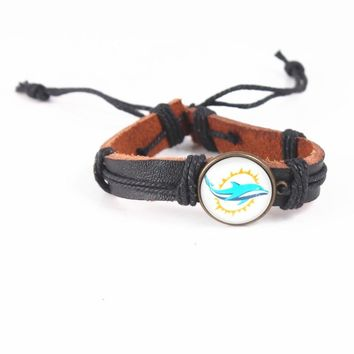 Sport Fashion Punk Design Miami Dolphins Logo Leather Bracelets For USA Football Wristband Adjustable Rope Bracelet Jewelry 6pcs