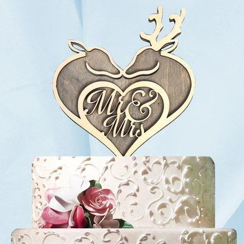 Mr. and Mrs. Deer Heart Cake Topper