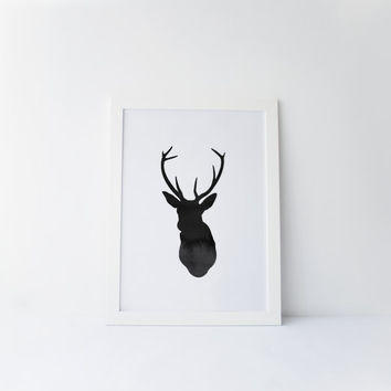DEER,Deer Print,Watercolor Deer,Geometric Art,Watercolor Deer Printable,Digital Art,Black And White,Room Decor,Deer Head Print,Home Decor