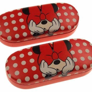 Lot 2 Disney Minnie Mouse Hiding Eye Sunglasses Hard Case Red Kid Adult Licensed