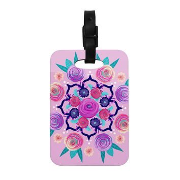 "Anneline Sophia ""Expressive Blooms Mandala"" Pink Floral Decorative Luggage Tag"
