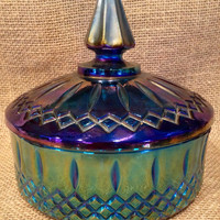 Vintage sappire carnival glass candy dish