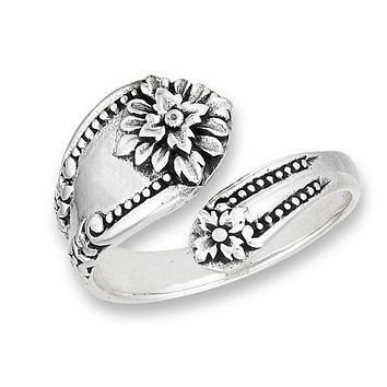 Sterling Silver Victorian Flower Spoon Ring