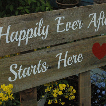 Happily Ever After Starts Here WEDDING signs ALL PAINTED