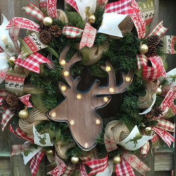 Moose Wreath,Rustic Wreath,Cabin Wreath,Rustic Burlap Wreath, Rustic Christmas Wreath,Rustic Cabin, Christmas Mesh,Holiday Mesh,Front Door