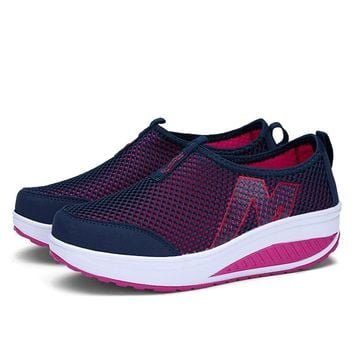 Women Sport for Light Up Women Swing Wedges Platform zapatos mujer trainers tenis feminino Breathable Toning Shoes