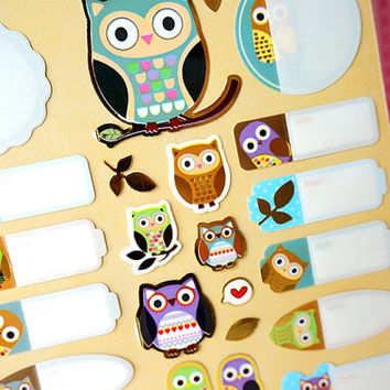 Golden Foil owl sticker owl family name sticker lovely animal name tag kawaii animal colorful bird handmade special gift card scrapbook